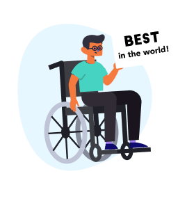 an illustration of a person in a wheelchair holding a sign reading best in the world